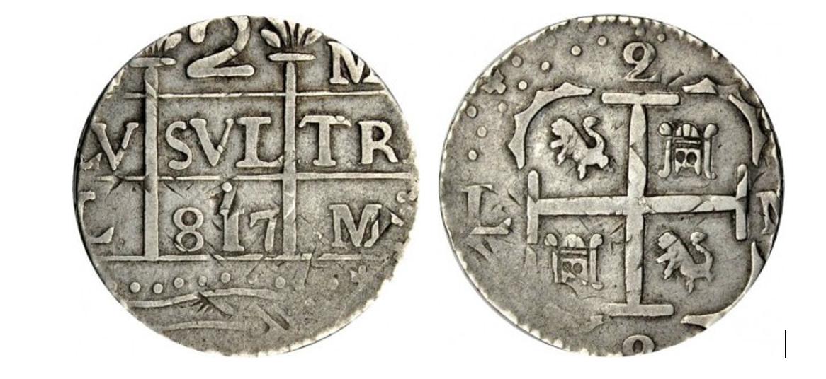 Moneda macuquina caraqueña de 2 reales de 1817