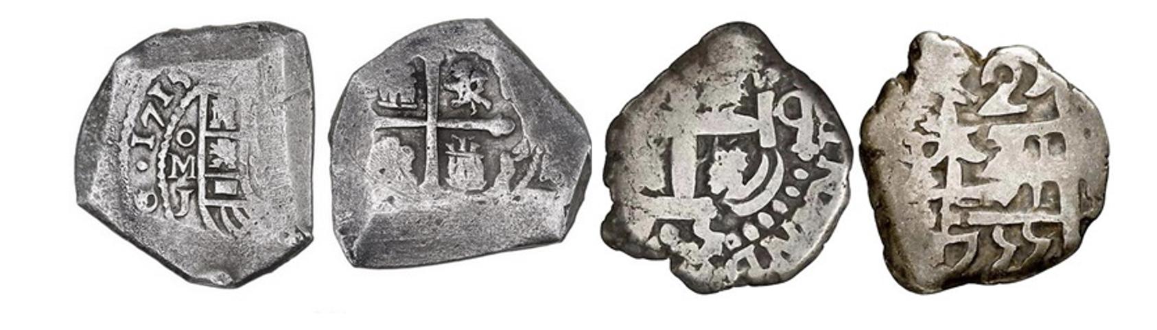 Variedad de monedas macuquinas mutiladas y desgastadas