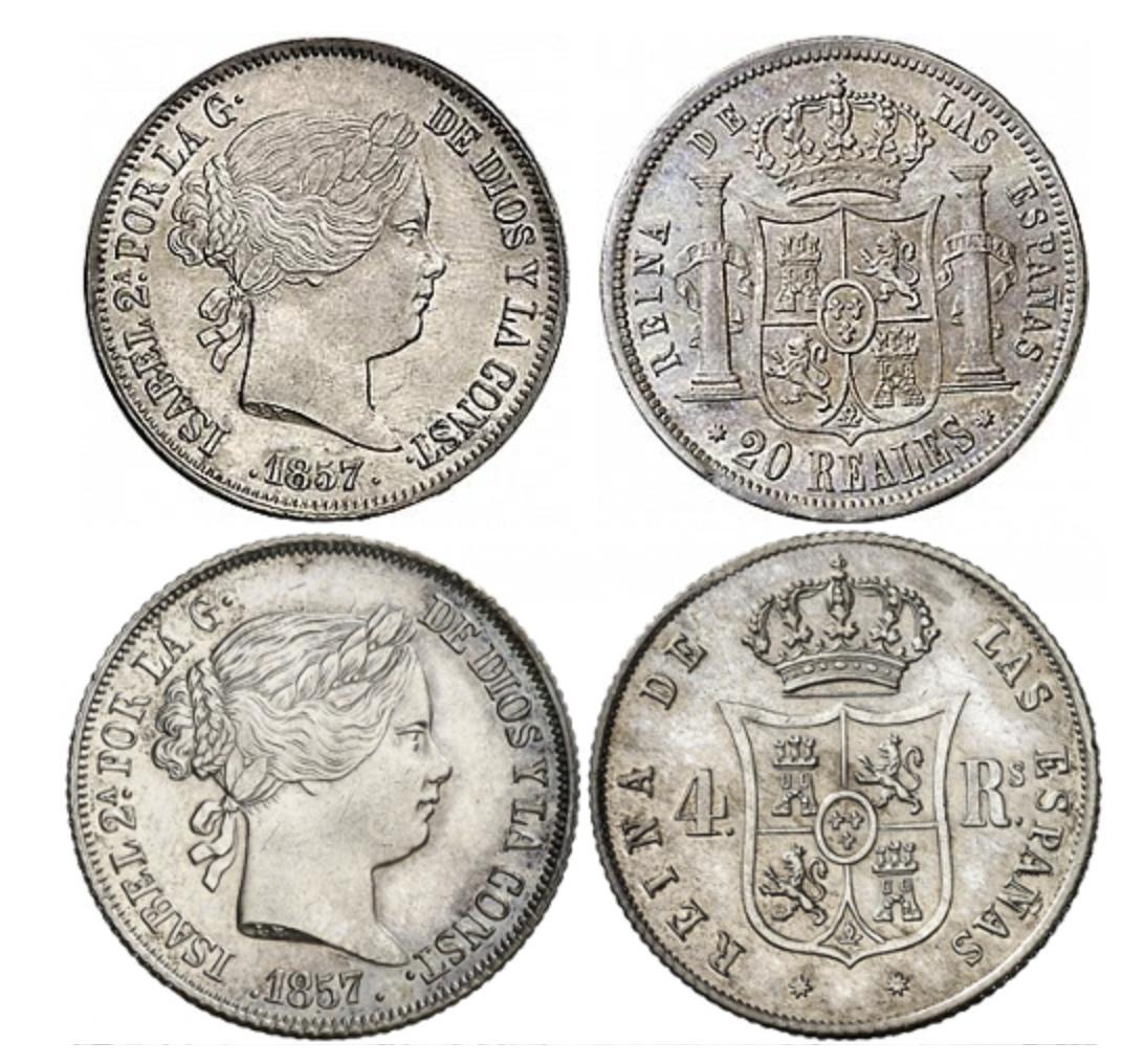 """Moneda """"fuerte"""" o """"de cordon"""" de cuño español, 20 y 4 reales, Isabel II (1857)"""
