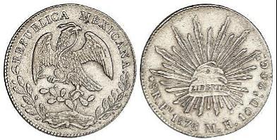 """Peso de plata o """"sol"""" mexicano, 1876."""