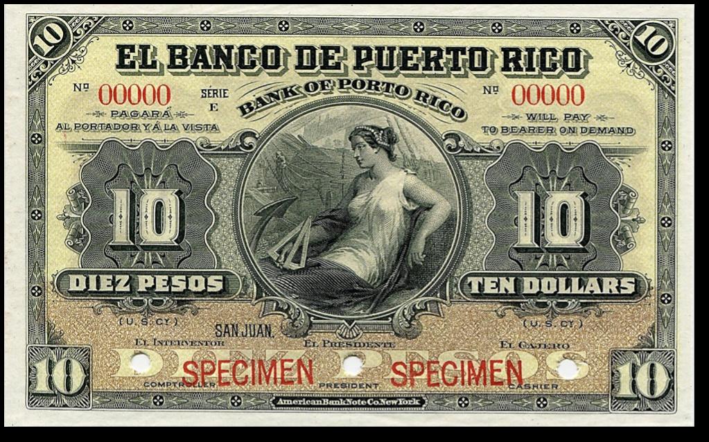 Banco de Puerto Rico / Bank of Porto Rico. Billete de 10 pesos