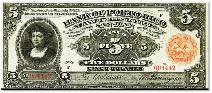 Banco de Puerto Rico / Bank of Porto Rico. Billete de 5 pesos