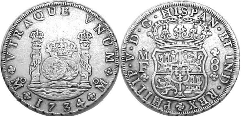 """Moneda tipo """"dos mundos"""" de 8 reales, Felipe V, 1734"""