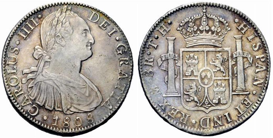 """8 reales, tipo """"busto"""", Carlos IV, 1808"""